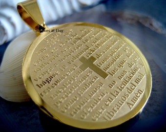 Gold Plated Stainless Steel Padre Nuestro Medal-Padre nuestro medalla-Our Father Medal Charm-Stainless Steel Coin Medal Spanish Prayer
