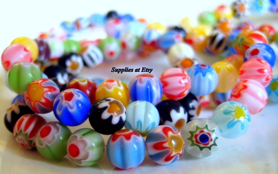 Strands of Red Fancy Glass Millefiori Beads Jewelry Supplies
