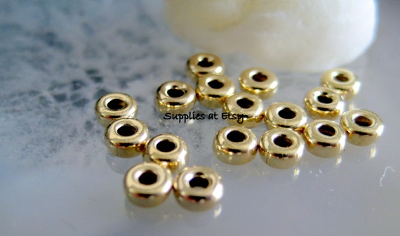Clear Rhinestone 25 PCs 14K Gold Filled Roundel Spacer Beads Size 7mm Flower Spacer Findings Jewelry USA Seller