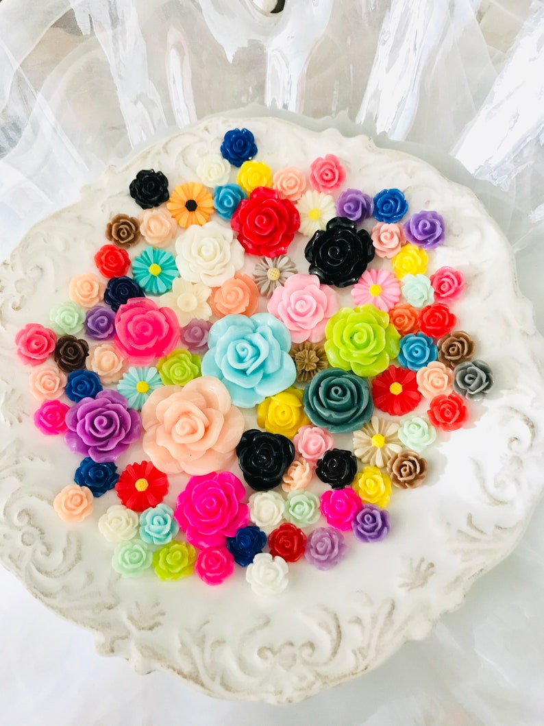 Value sample pack Assorted pastel colors  Large Roses cabochon flat back-Mixed multi color Large cabochon flowers 10-30mm-Resin flowers
