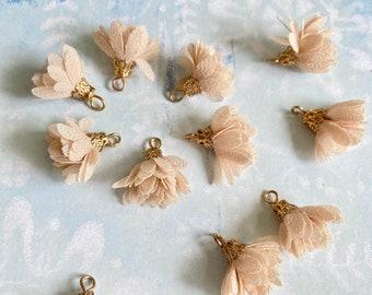 Ivory  fabric flower Tassels-Fabric Flower with bazel-Fringe/tassel charms-mala tassels Mini Tassels DIY Earrings-bloom tassel pendants