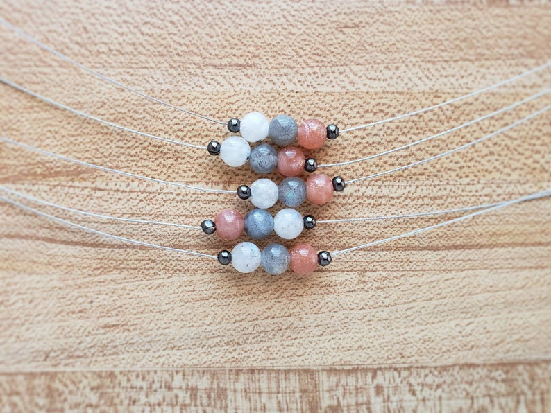 sunstone choker  tiny gemstone necklace  layering necklace HEY03C labradorite sun moon and stars floating gemstone choker  moonstone