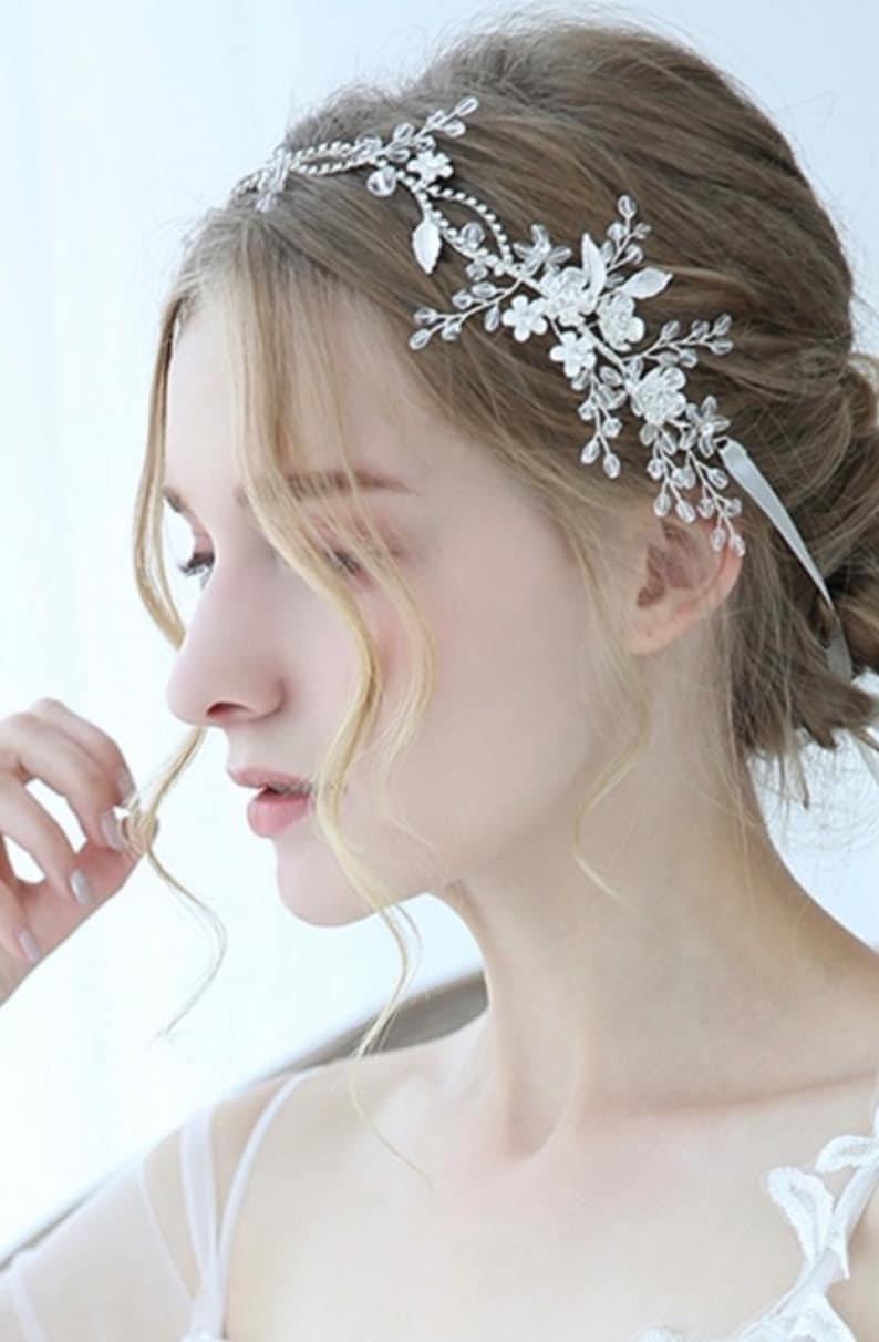 Silver Wedding Bridal headband Hair Accessories Bridal Crystal Flower Tiara Hair jewelry for women Bridal vintage wedding Tiaras