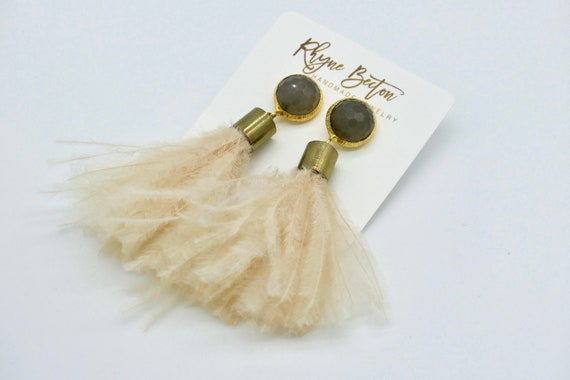 Natural swan feather earrings