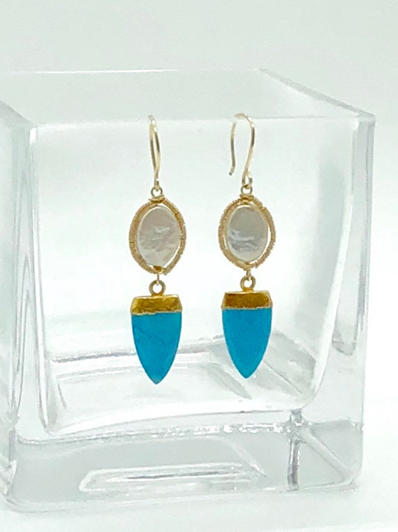 White freshwater pearls with gold set turquoise drop earrings