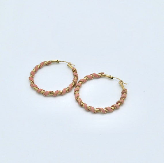 14kt gold filled hoops wrapped with leather