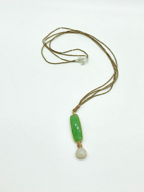 African brass beads with green chalcedony and moonstone pendant