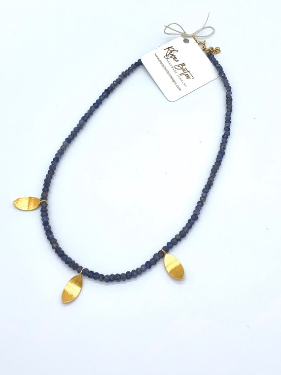 Iolite necklace with gold brushed leaf accents