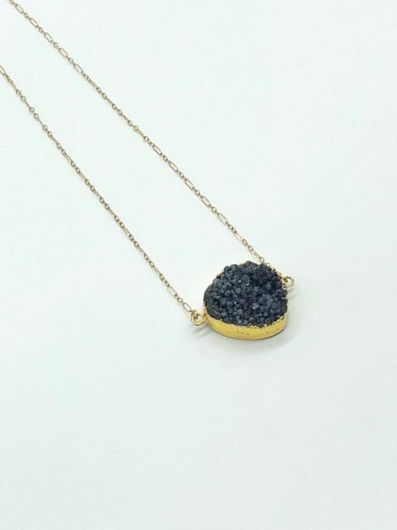 Gold framed black druzy on 14kt gold filled chain necklace