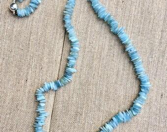 Long aquamarine necklace