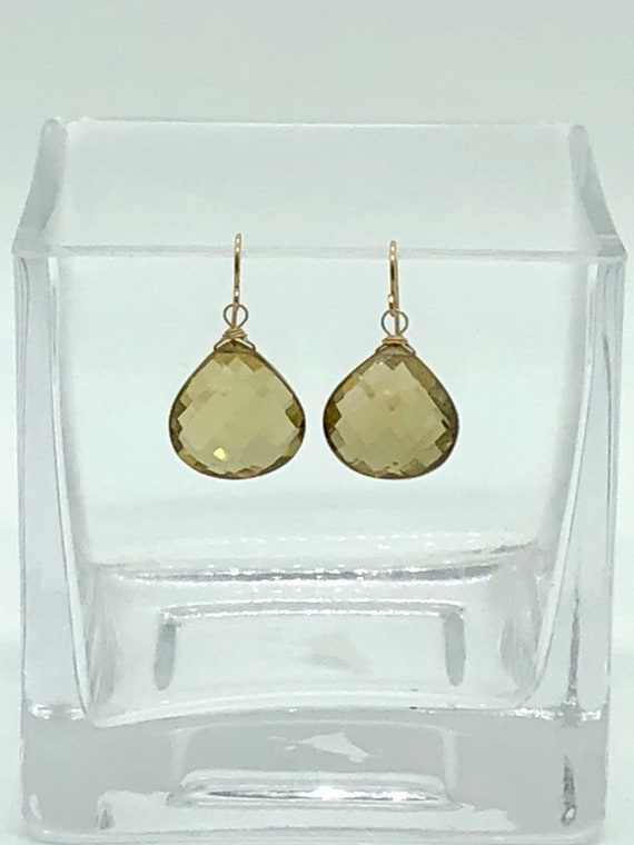 Lemon quartz teardrop earrings
