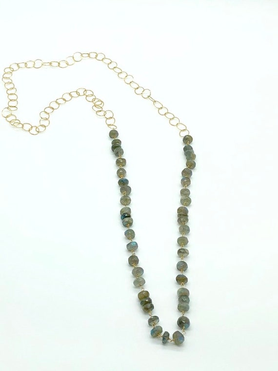 Labradorite on delicate gold filled chain