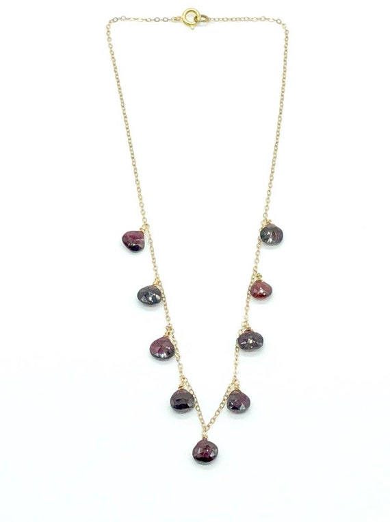 Garnet teardrops gold chain necklace