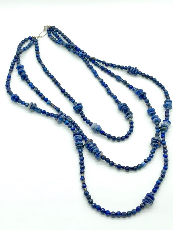 Three strand natural lapis necklace