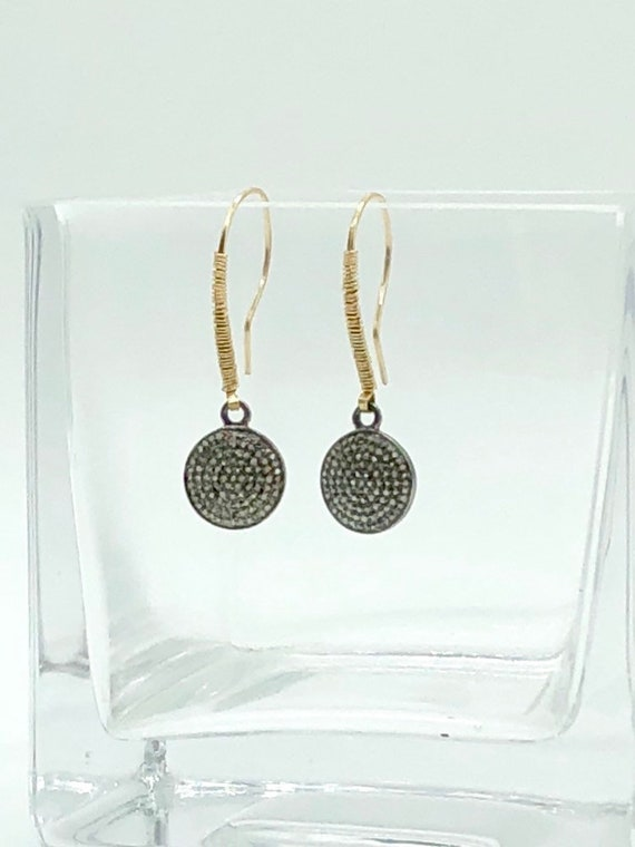 Pave diamond disc drops on gold filled ear wires earrings