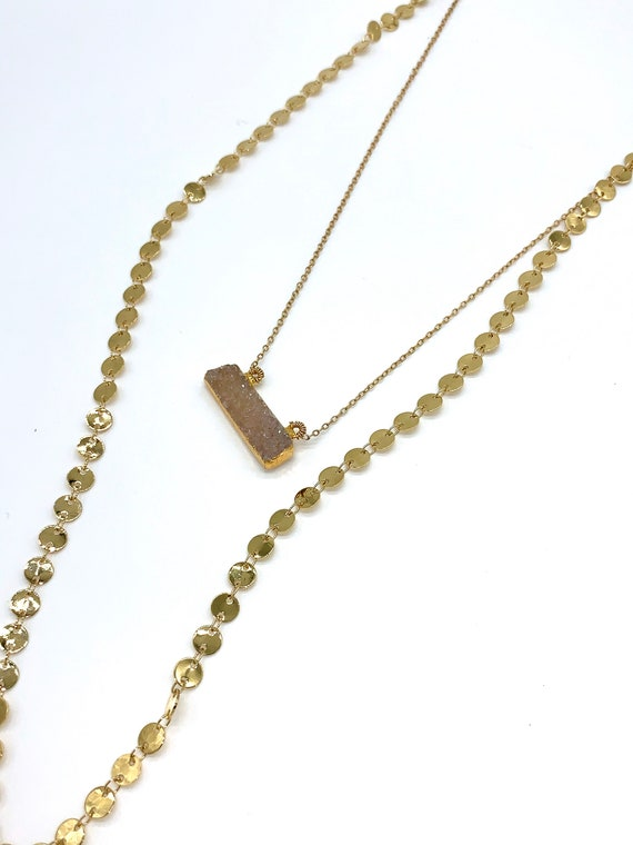 Gold disc chain withe druzy layering necklace