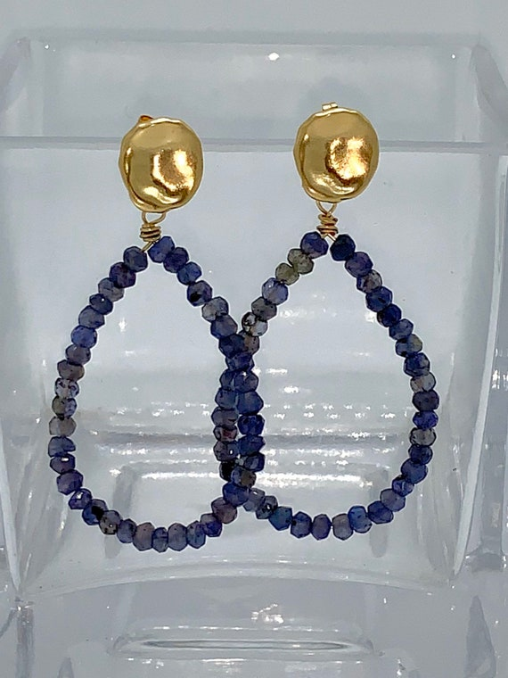 Iolite hoops with gold post earrings