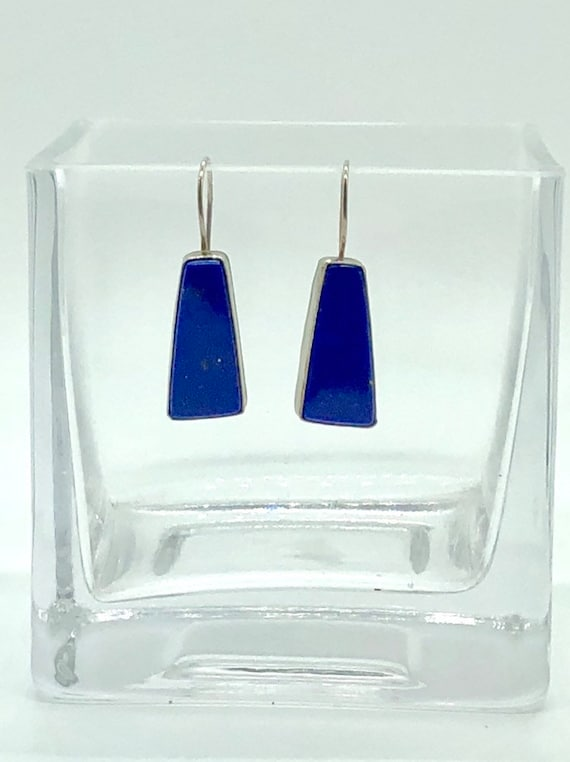Sterling silver set lapis drop earrings