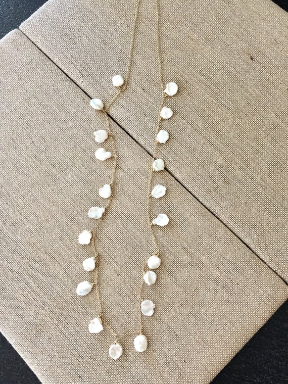 Gold filled cable chain with white freshwater pearl dangles necklace