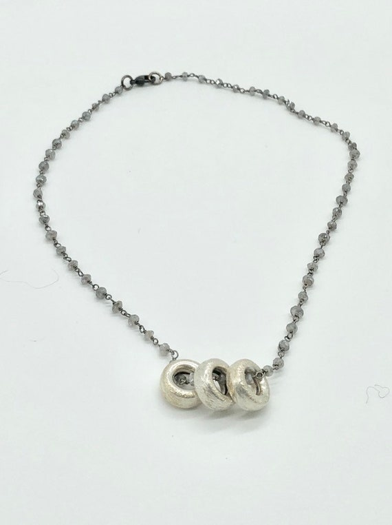 Labradorite chain with brushed silver donuts