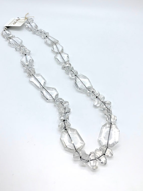 Crystal quartz knitted necklace