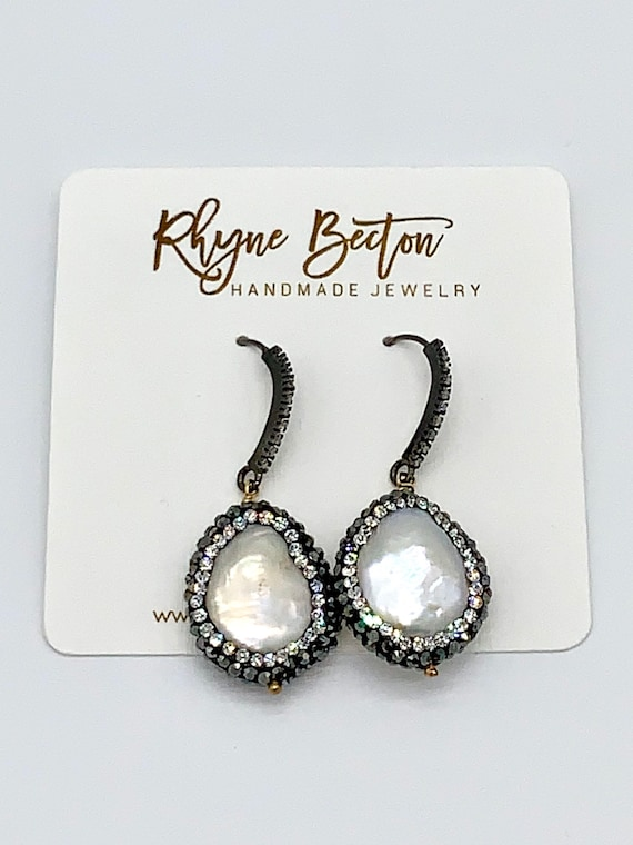 Pearl, crystal and diamond earrings