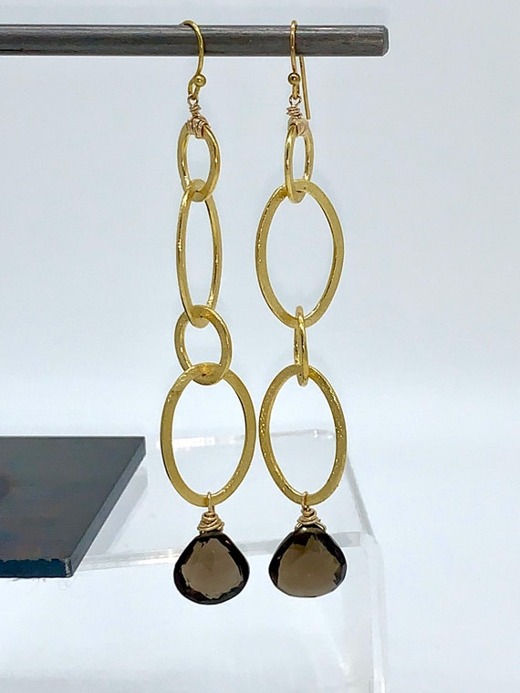 Gold hoop dangles with smokey quartz earrings