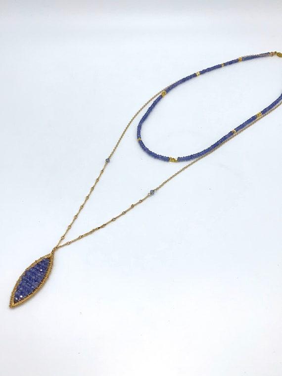 Tanzanite multi strand necklace
