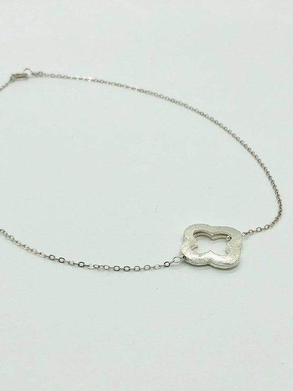 Sterling silver quatrefoil on sterling silver chain