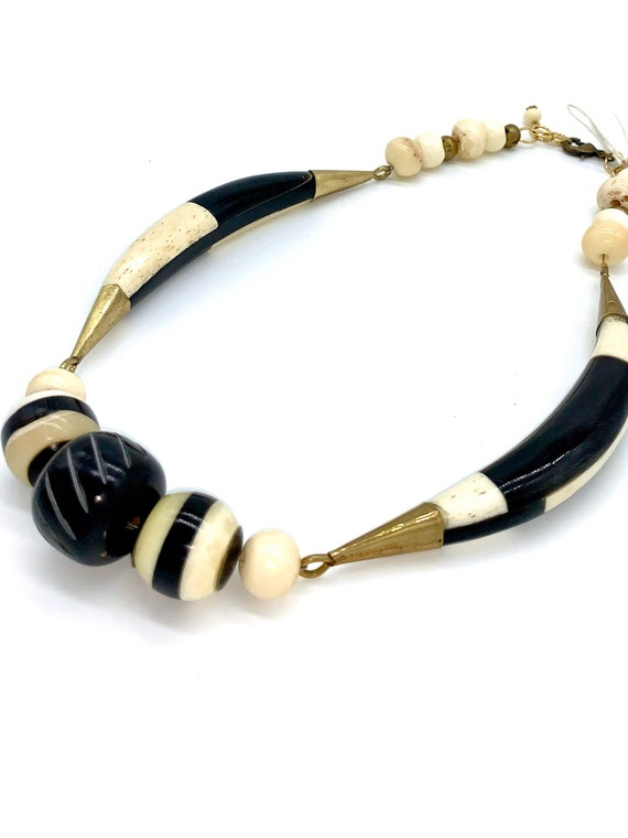 White and black bone necklace