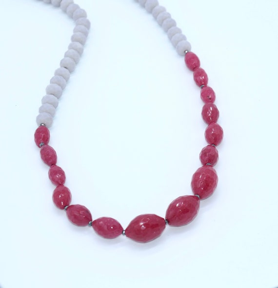 Jade and gray crystal necklace