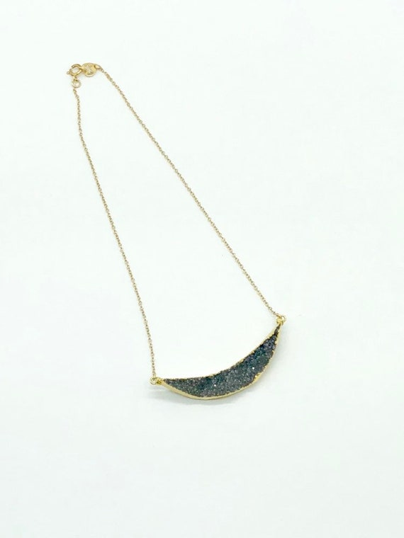 Black druzy crescent pendant in 14kt gold filled chain