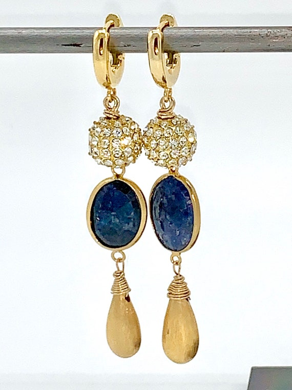 Hoops with crystal and lapis dangle earrings