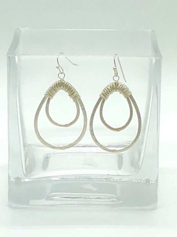Silver brushed double hoop earrings