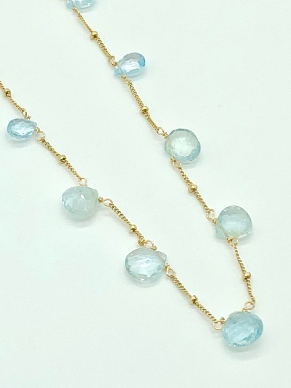 Blue topaz on Gold filled chain