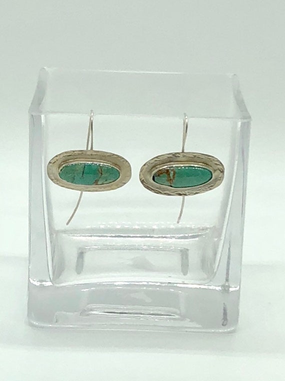 Sterling silver set turquoise drop earrings