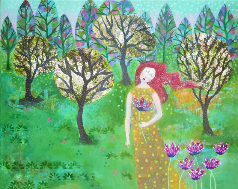 Orchard Trees pretty mixed media painting on canvas with image 0