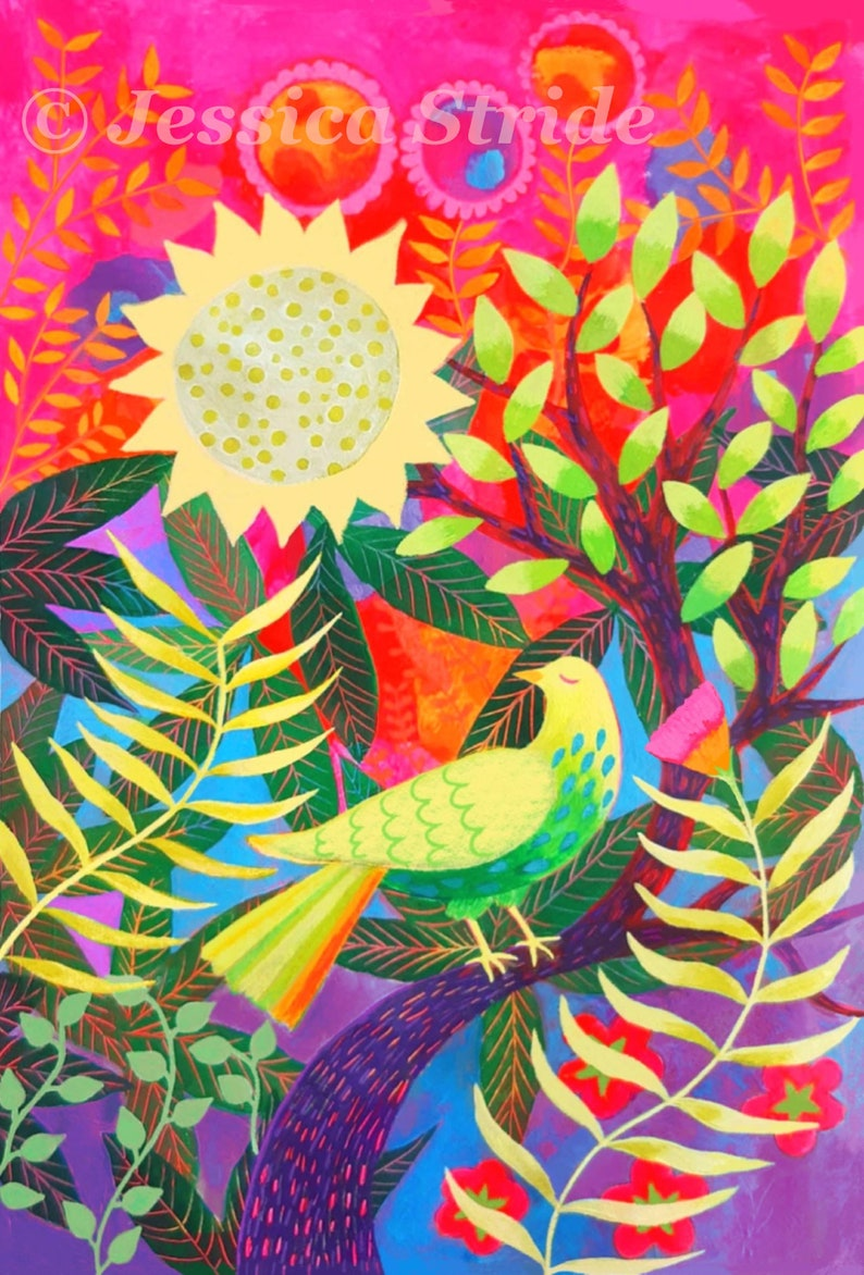 Colourful Bird art print from my acrylic painting wall art image 0