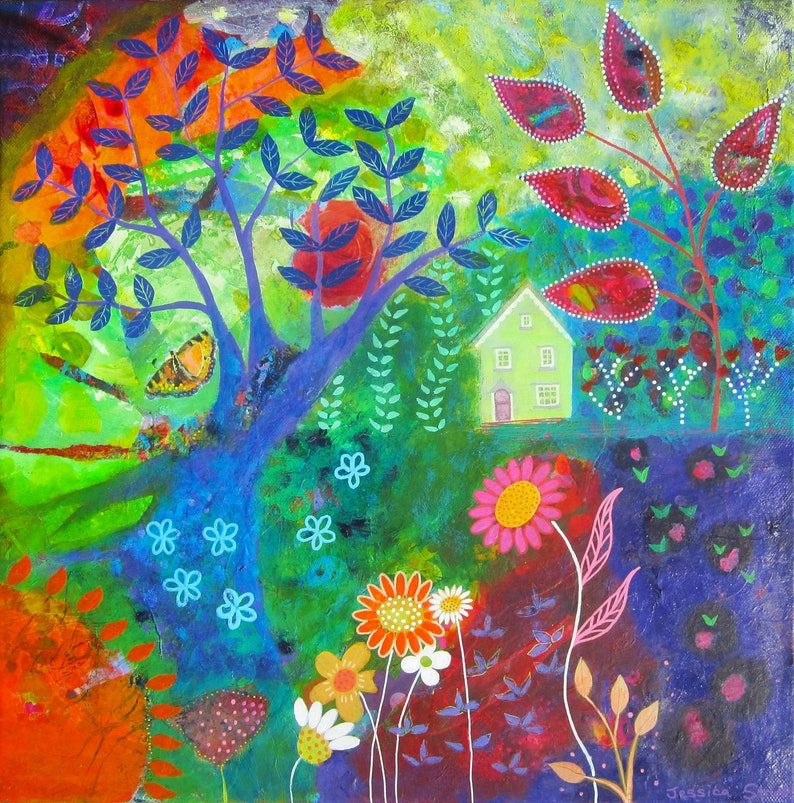 Country Cottage Garden Bright and colourful landscape art image 0
