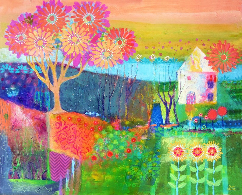 Bright and colourful landscape art print with a house and image 0