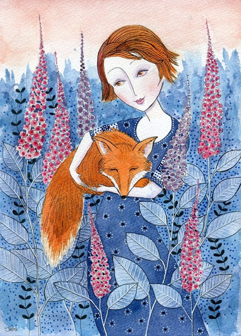 Girl and Fox art print from my watercolour painting wall image 0