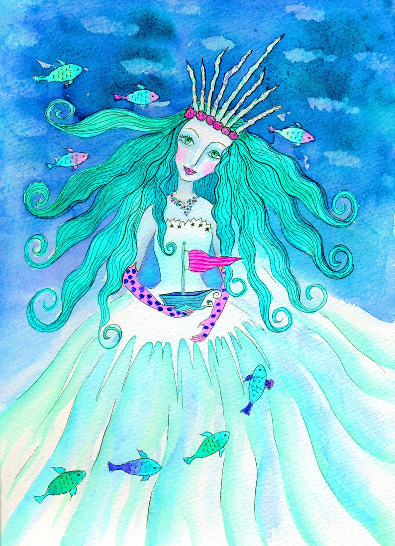 Ice Queen art print from my watercolour art Neptune wall image 0