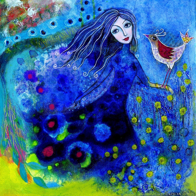 Blue Magical Girl with Bird art print in shades of Blue mixed image 0