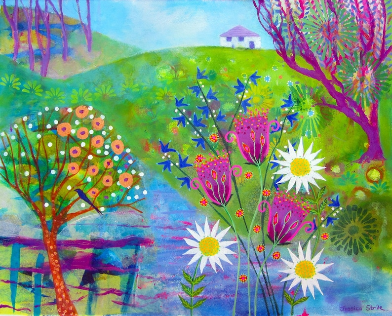 Flowers by the River Bright and beautiful landscape art print image 0