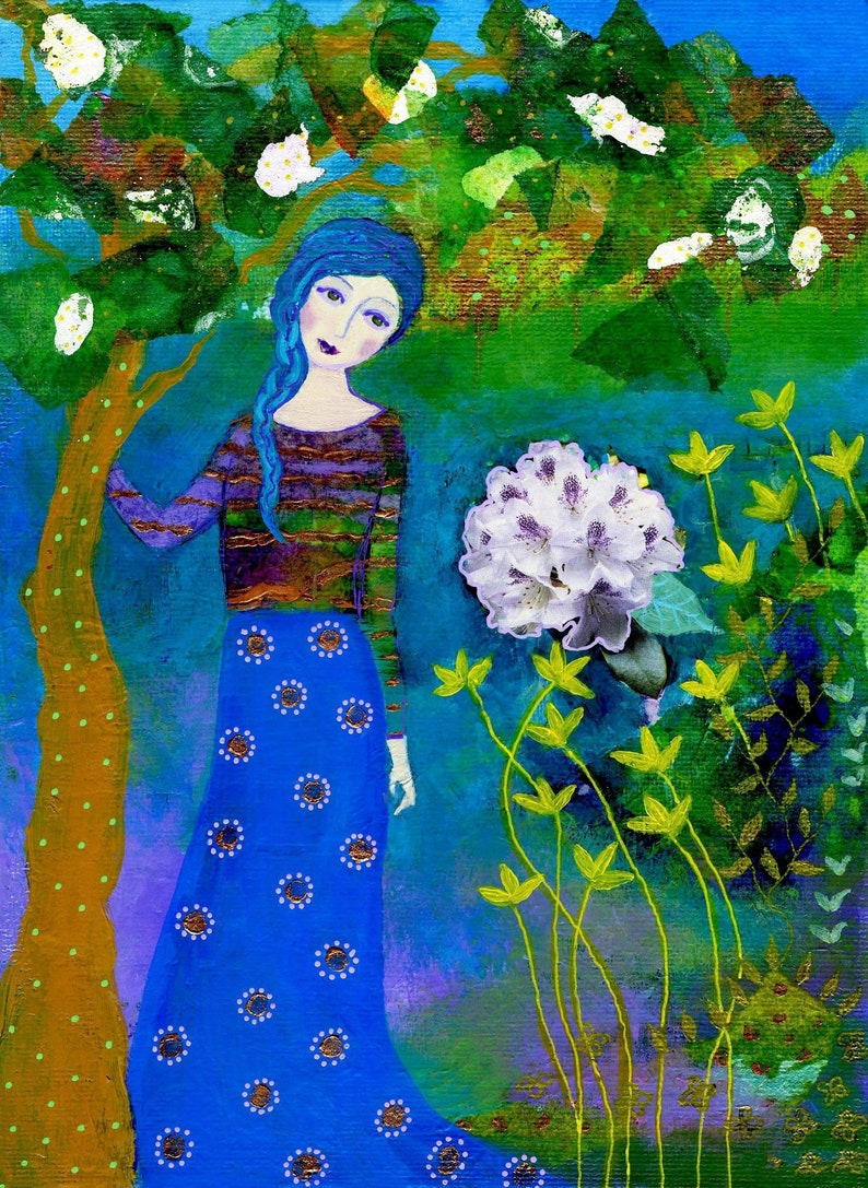 Tree lover art print from my mixed media painting tree of image 0