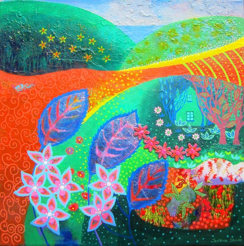 Colourful bright landscape original mixed media canvas image 0
