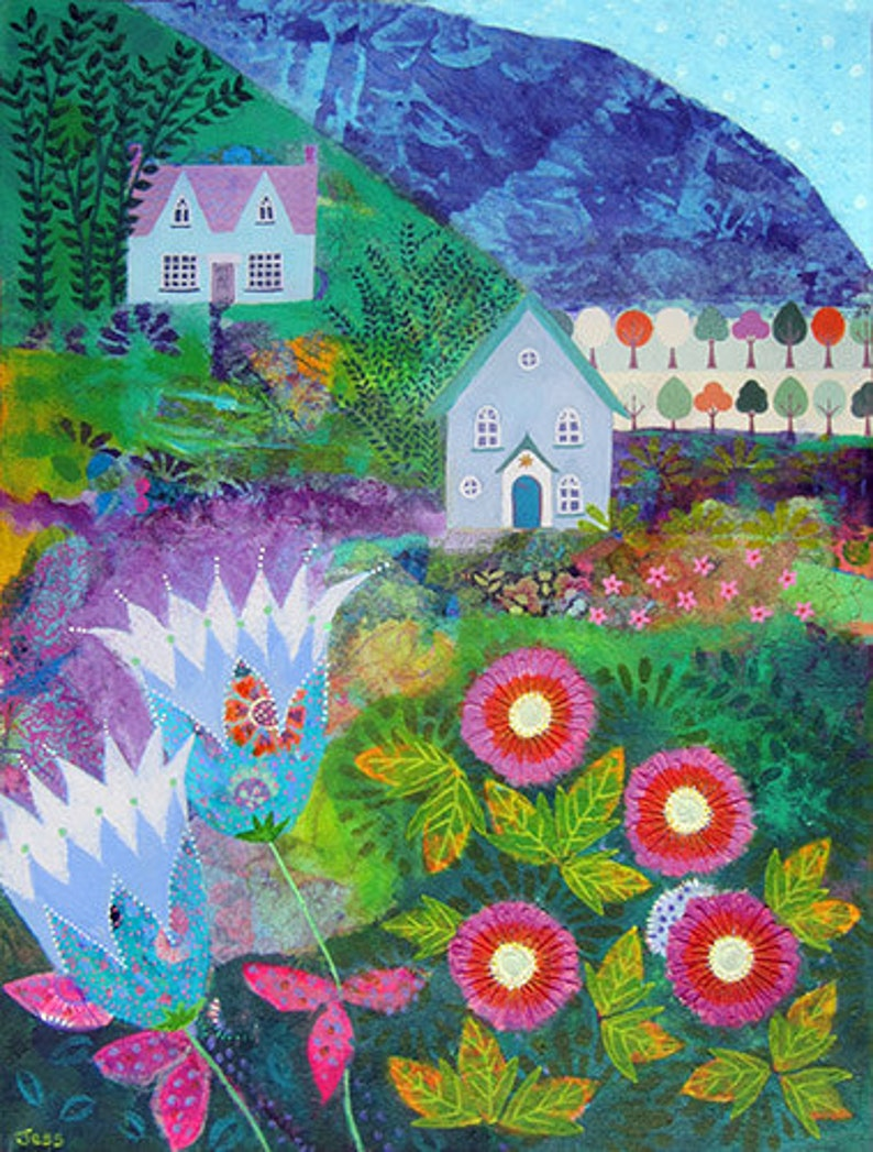 Bright colourful landscape art print perfect as a gift or wall image 0