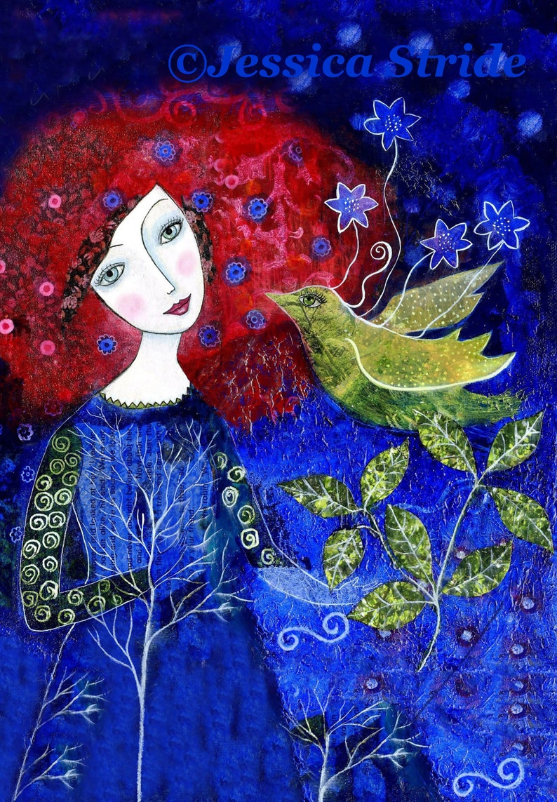 Girl with red hair and Bird art print in deep shades of red image 0