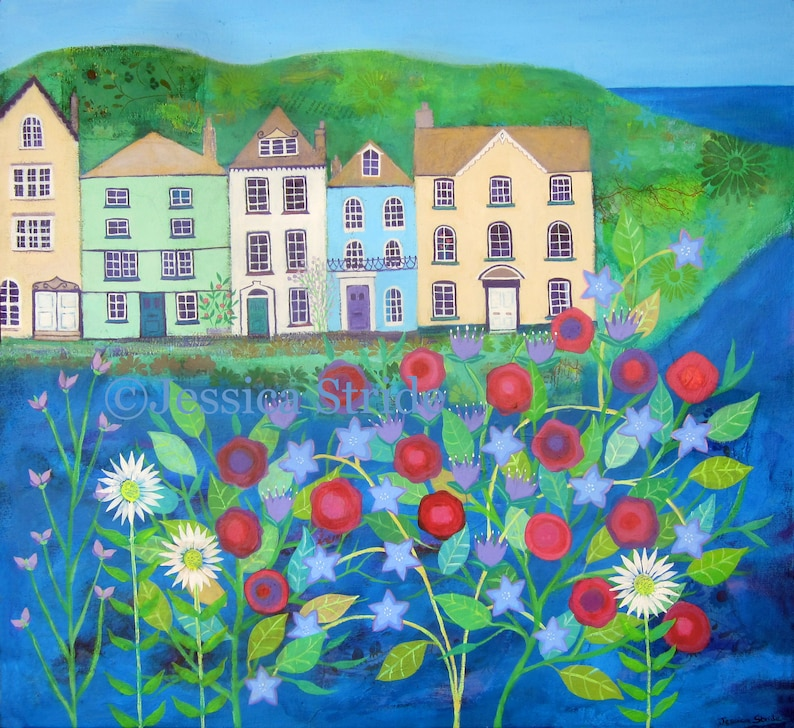 Harbour houses bright and beautiful art print from my image 0