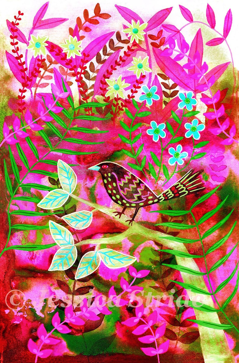 Colourful art print from my acrylic painting wall art A4 image 0